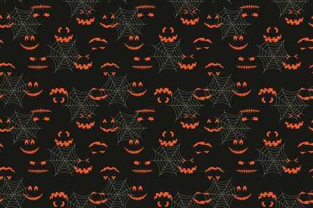 Halloween face in cobweb seamless pattern. Spooky jack vector hand drawn illustration for print design, fabric, textile, wallpaper, wrapping paper.