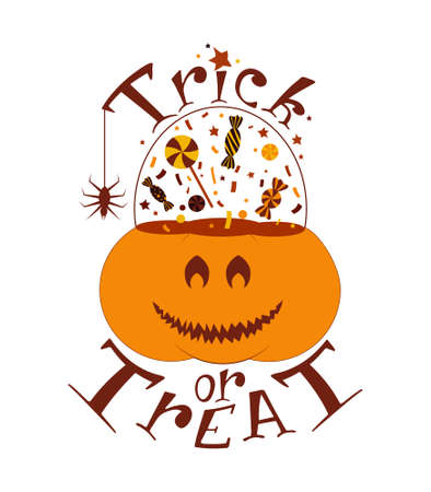 Pumpkin trick or treat bucket sticker. Jack o lantern pot for sweets, candies. Hand drawn graphic element for print design.