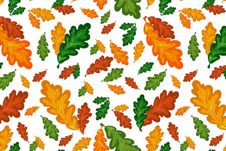 Colorful oak leaves vector seamless pattern in autumn palette. Hand drawing fall floral background. Vector doodle style illustration for calendar, wallpaper, fabric, cover or banner.