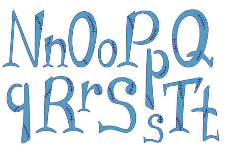 Stitched alphabet for halloween. Hand-drawn lettering in frankenstein style. N, O, P, Q, R, S, T letters for your design, banner, logo, type, card, poster. Uppercase and lowercase font Ilustração