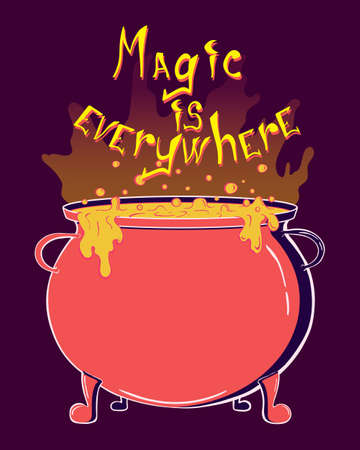 Magic is everywhere lettering poster. Hand drawn illustration for your halloween design. Witch's equipment.