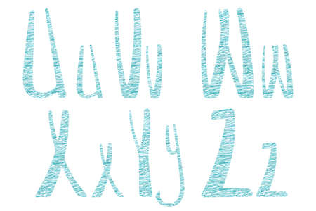 Latin hand drawn alphabet in tailor style. Needlework letters look like bobbins, spools or reels. Best for tailor logo, hobbies design, banner. U, V, W, X, Y, Z uppercase and lowercase letters.