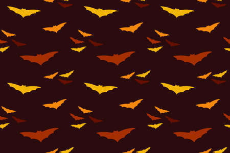 Red bat flock in the dark sky seamless pattern. Vector file for different print designs. Can be used for fabric, wallpaper, wrapping paper. Ilustracja
