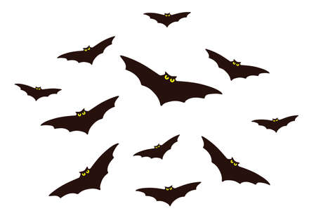 Bat flock vector isolated on the white background. Hand drawn illustration for print design, banner, logo, poster
