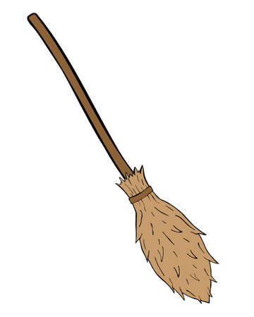 Witch broom vector isolated on the white background. Hand drawn illustration for print design, banner, logo, poster 矢量图像