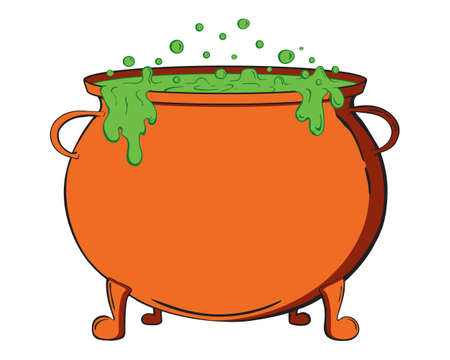 Witch cauldron vector isolated on the white background. Hand drawn illustration for print design, banner, logo, poster