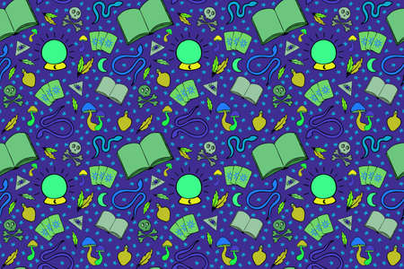 Esoteric vector seamless pattern. Different witch equipment for magic spell. Nice hand drawn illustration for fabric, textile, background, wallpaper, wrapping paper, cover