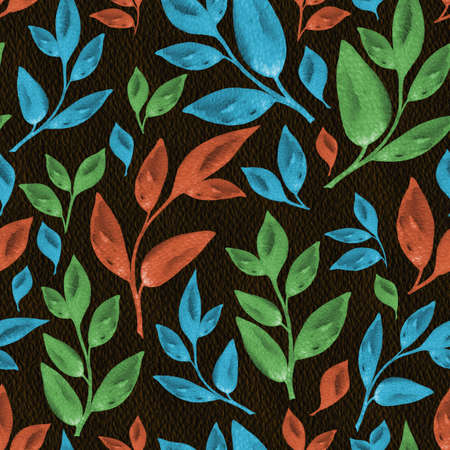 Vintage leaves watercolor seamless pattern on the dark backgrounde. Hand drawn floral illustration in autumn mood for textile, wallpaper, fabric, postcard, invitation, cover, wrapping paper