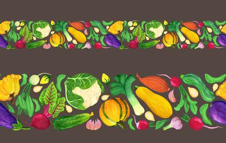 Fresh watercolor vegetable seamless border, easy to edit background. Autumn harvesting for posrcard, banner, autumn festival poster, print design, frame, washi tape, paper adhesive tape, ribbon 免版税图像