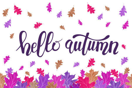 Hello autumn watercolor greeting card. Bright colorful oak leaves frame for print design, banner, poster, invitation. 免版税图像