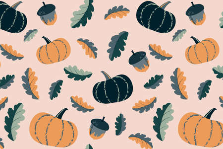 Cute autumn seamless pattern. Pumpkin and acorn elements illustration. Hand drawn vector print design for fabric, wrapping paper or wallpaper. Vegetable background in autumn mood. 矢量图像