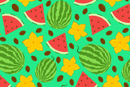 Cute watermelon seamless pattern. Whole berry with slice, flowers and seeds. Hand drawn illustration for fabric, textile, cover, wallpaper, calendar. Organic vegetarian food backdrop.