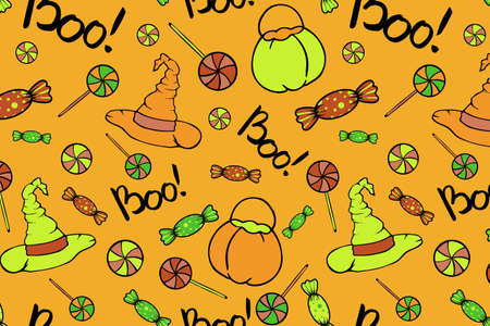 Sweets and witch halloween seamless pattern. Witch hat, pumpkin bucket and sweets elements for Halloween party. Print design for fabric, textile, wallpaper, wrapping paper, background