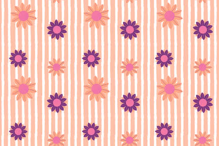Tender sunflower seamless pattern in romantic palette. Cute flowers with white stripes on backdrop. Hand drawn illustration for fabric, cover, wallpaper, wrapping paper, background, calendar.
