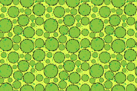 Green shapes seem like bacteria through microscope seamless pattern. Hand drawn abstract illustration for different print design, brochure template, textile, wallpaper, wrapping paper, calendar.