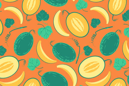 Ripe yellow melon seamless pattern. Whole berry with slice, flowers and seeds.