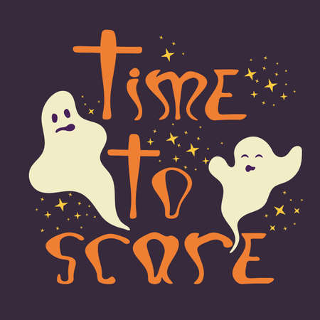 Time to scare halloween poster with ghosts. Hand drawing phrase for halloween design