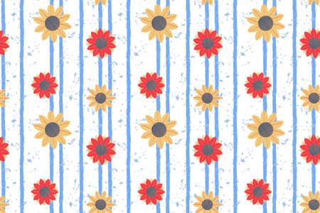 Orange sunflower vector seamless pattern on blue vertical striped textured backdrop.