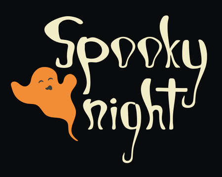 Spooky night halloween poster. Hand drawn quote with ghost for print design 矢量图像
