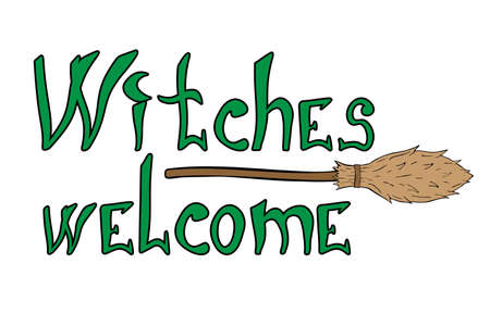 Witches welcome halloween phrase. Hand drawn quote for print design 矢量图像