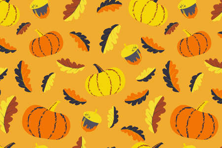Cute autumn seamless pattern. Pumpkin and acorn elements illustration. Hand drawn vector print design for fabric, wrapping paper or wallpaper.