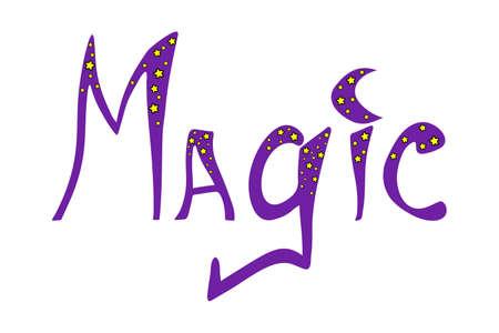 Hand drawn word - magic. Lettering for print design, poster, banner, cover, invitation, sticker, t-shirt. 矢量图像