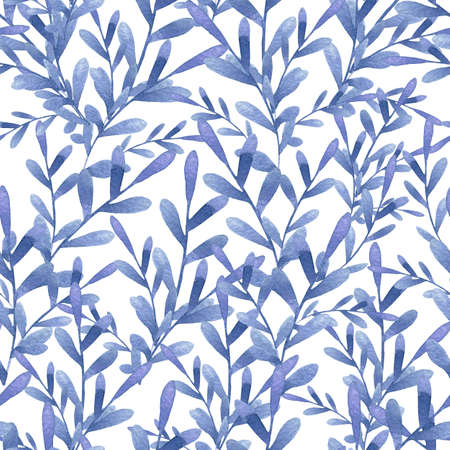 Tender blue plants with oval leaves on white background. Seaweed watercolor seamless pattern for textile, wallpaper, fabric, postcard, invitation, cover, wrapping paper, print design 免版税图像