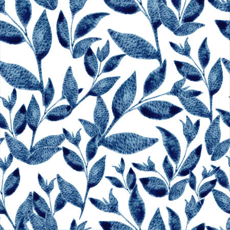 Blue floral seamless pattern with watercolor leaves. Hand drawn illustration on textured background for textile, wallpaper, fabric, postcard, invitation, cover, wrapping paper, print design 免版税图像