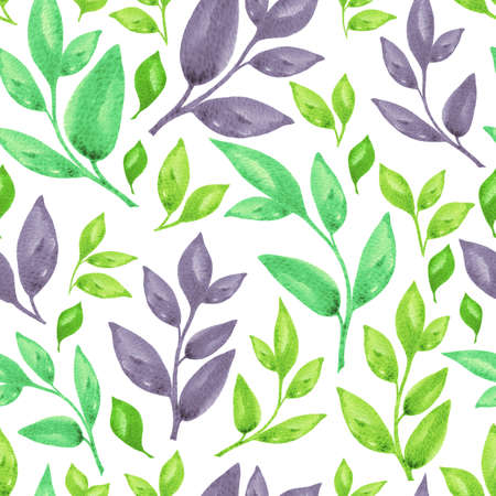 Nice summer floral watercolor seamless pattern. Green and violet basil branches isolated on white background for textile, wallpaper, fabric, postcard, invitation, cover, wrapping paper