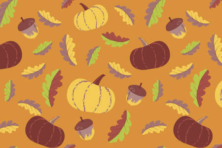 Cute autumn seamless pattern. Pumpkin and acorn elements illustration. Hand drawn vector print design for fabric, wrapping paper or wallpaper. Vegetable background in autumn mood. EPS 10