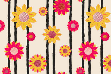 Summer sunflower vector seamless pattern on vertical striped backdrop. Yellow and pink flowers with leaves and buds for fabric, textile, cover, wallpaper, wrapping paper, background, calendar. EPS 10
