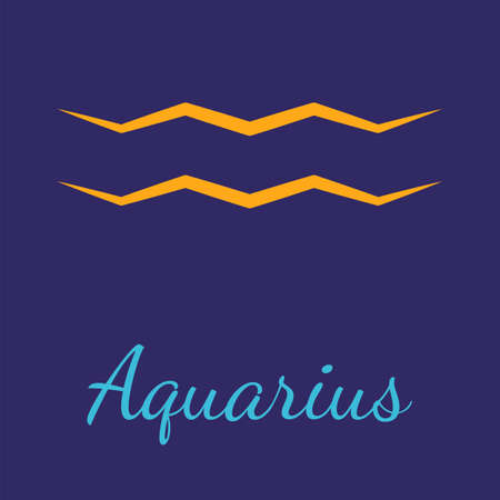 Aquarius vector zodiac icon. Astrological signs with name. Graphic element for print designs - calendar, poster, sky map, sticker 矢量图像