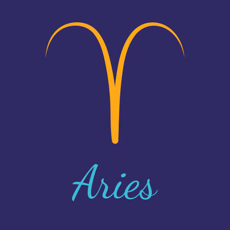 Aries vector zodiac icon. Astrological signs with name. Graphic element for print designs - calendar, poster, sky map, sticker 矢量图像