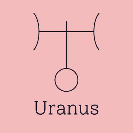Uranus astrological and zodiac symbol. Vector sign of planet domicile for print designs - calendar, poster, sky map, sticker