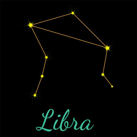 Libra vector constellation with stars and name. One of twelve elements of western horoscope. Graphic elements for print designs - calendar, poster, sky map, sticker 矢量图像