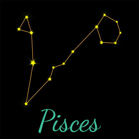 Pisces vector constellation with stars and name. One of twelve elements of western horoscope. Graphic elements for print designs - calendar, poster, sky map, sticker 矢量图像