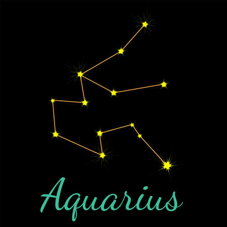Aquarius vector constellation with stars and name. One of twelve elements of western horoscope. Graphic elements for print designs - calendar, poster, sky map, sticker 矢量图像