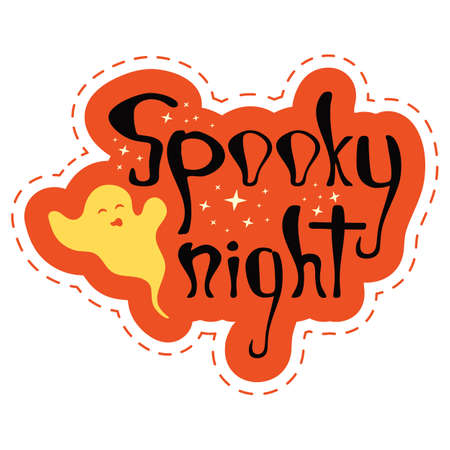 Red halloween party sticker with text - spooky night. Nice graphic object with ghosts and stars for print design - poster, banner, sticker pack, t-shirt design