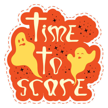 Red halloween party sticker with dashed line - time to scare. Nice graphic object with ghosts and stars for print design - poster, banner, sticker pack, t-shirt design