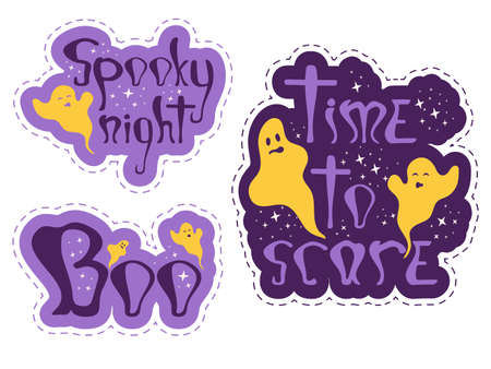 Funny halloween stickers with ghosts. Nice graphic objects for party night. Vector print design for notebooks, poster, banner, t-shirt. Boo, time to scare and spooky night speech bubbles