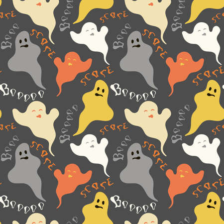 Funny ghosts seamless pattern with lettering. Nice vector illustration on dark background in halloween mood for fabric, textile, wallpaper, wrapping paper, background. Autumn palette. Eps 10