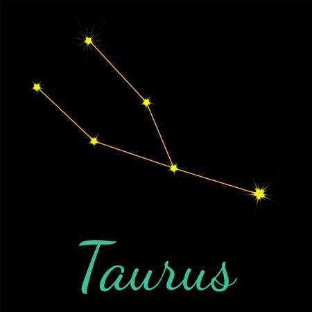 Taurus vector constellation with stars and name. One of twelve elements of western horoscope. Graphic elements for print designs - calendar, poster, sky map, sticker