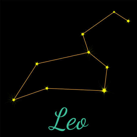 Leo vector constellation with stars and name. One of twelve elements of western horoscope. Graphic elements for print designs - calendar, poster, sky map, sticker