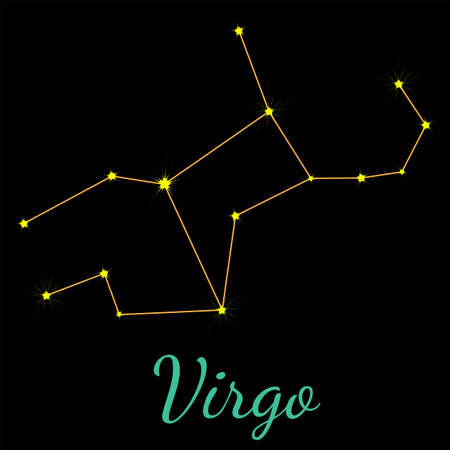 Virgo vector constellation with stars and name. One of twelve elements of western horoscope. Graphic elements for print designs - calendar, poster, sky map, sticker