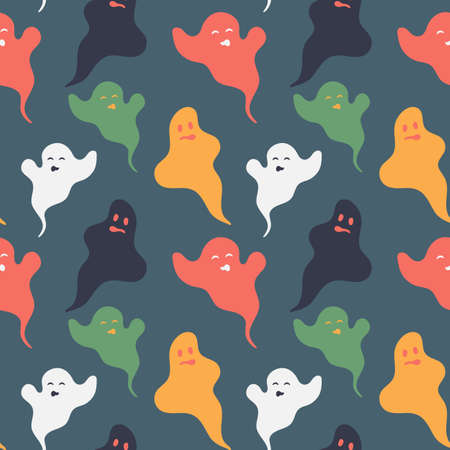 Spooky and funny colored ghosts seamless pattern. Nice vector illustration in halloween mood for fabric, textile, wallpaper, wrapping paper, background. Calm autumn palette. EPS 10 矢量图像