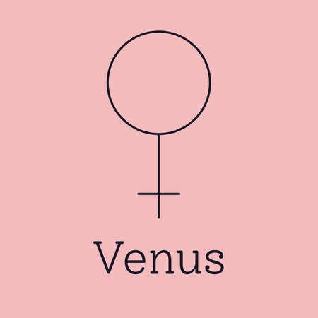 Venus astrological and zodiac symbol. Vector sign of planet domicile for print designs - calendar, poster, sky map, sticker 矢量图像