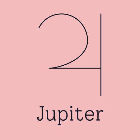 Jupiter astrological and zodiac symbol. Vector sign of planet domicile for print designs - calendar, poster, sky map, sticker 矢量图像