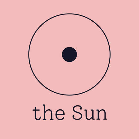 Sun astrological and zodiac symbol. Vector sign of planet domicile for print designs - calendar, poster, sky map, sticker