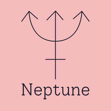 Neptune astrological and zodiac symbol. Vector sign of planet domicile for print designs - calendar, poster, sky map, sticker