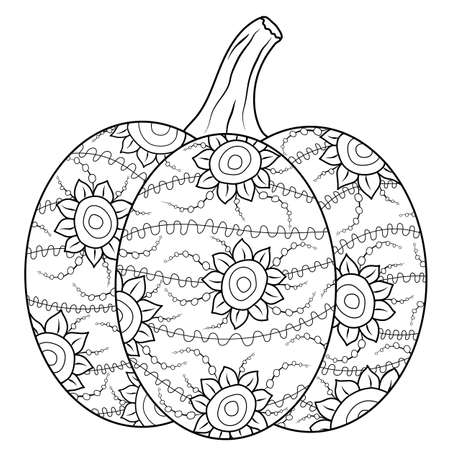 Outlined autumn pumpkin coloring book page in botanical style. Doodle illustration for fun drawing leisure time, being at home. Vector ornated gourd on white isolated background.